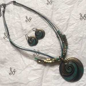 Gold/Teal/Purple Necklace & Earing Set